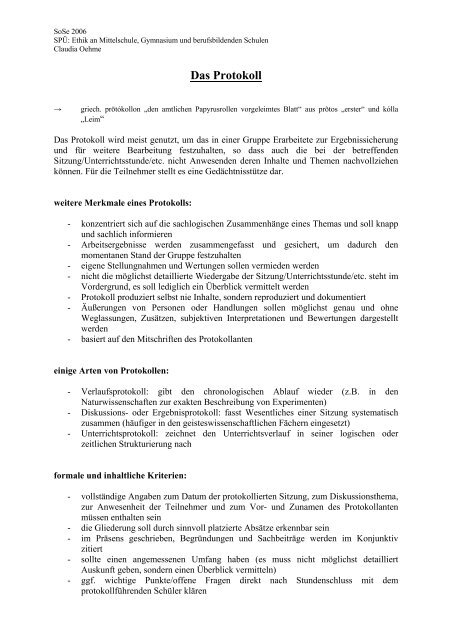 Das Protokoll Donat Schmidt