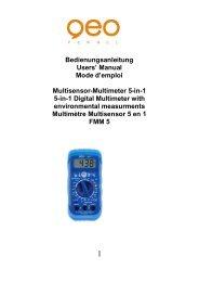 Bedienungsanleitung Users' Manual Mode d'emploi Multisensor ...