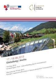 17.–18.08.2013 Einladung | Invito - Europaregion | Tirol Südtirol ...