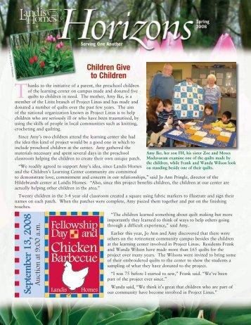 2008 Spring Horizons Newsletter - Landis Homes