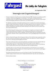 Interregio statt Zugstreichungen! - FAHRGAST Steiermark