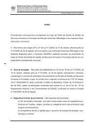 AVISO Procedimento concursal para recrutamento do cargo de ...