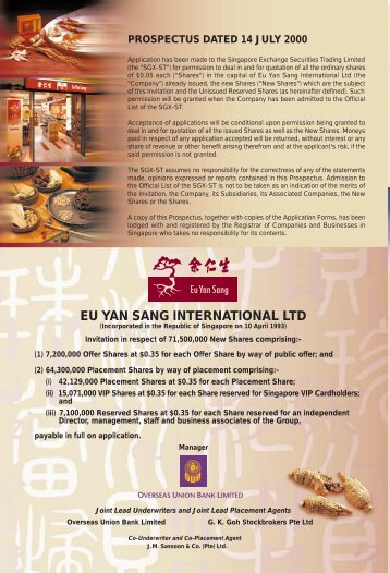 Eu Yan Sang IPO-F/A new