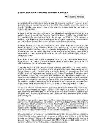 Revista Raça Brasil Identidade, afirmação e polêmica - Fundação ...