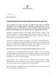 Pressemitteilung Kinder Workshops - Swarovski Kristallwelten