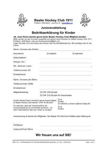 Basler Hockey Club 1911 Beitrittserklärung für Kinder ... - Basler HC