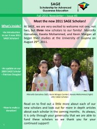 SAGE Fall 2011 Newsletter (PDF) - Scholarship for Advanced ...