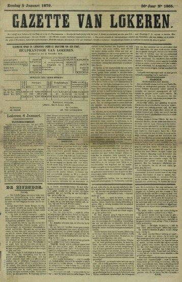 Zondag 5 Januari 1879. 36' Jaar N* 1865. GAZETTE VAN LDKEREN