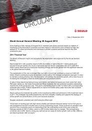 Skuld Annual General Meeting 30 August 2012