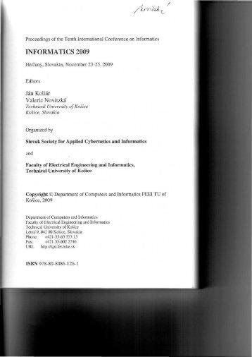 INFORMATICS 2009 - Hornad - TUKE