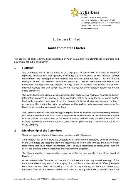 05-08-23 Audit Committee Charter - St Barbara Limited