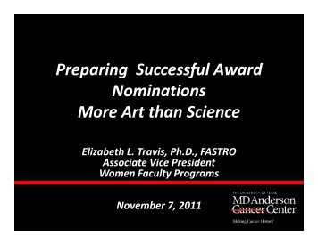 Preparing Successful Award p g f Nominations M A t th S i ... - AAMC