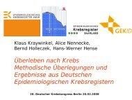 Dr. Klaus Kraywinkel, Überleben nach Krebs - Krebsregister NRW