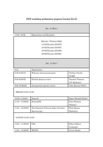 NNN workshop preliminary program (version Nov.5)