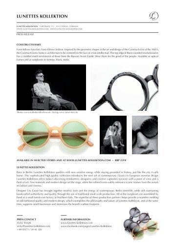 """Press Release 12/2012: """"Constructivismo"""" Frame - Lunettes Kollektion"""