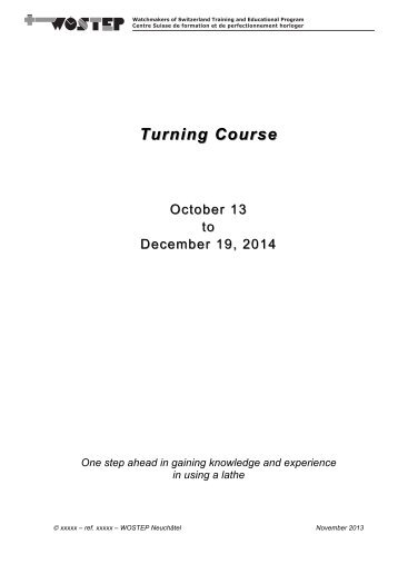 Turning Course Turning Course - WOSTEP