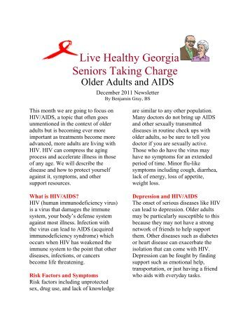 Live Healthy Georgia Seniors Taking Charge - Live Well Age Well