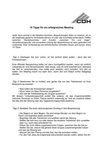 10 Tipps für ein erfolgreiches Meeting - CDH