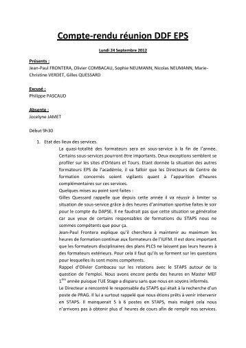 Compte-rendu réunion DDF EPS - IUFM