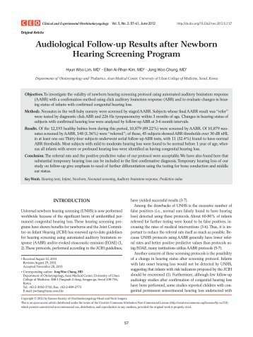 Audiological Follow-up Results after Newborn Hearing Screening ...