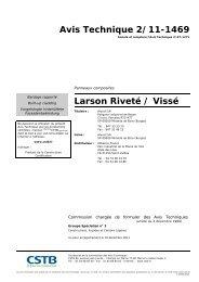 Avis Technique 2/11-1469 Larson Riveté / Vissé - CSTB