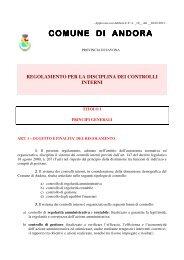 Regolamento per la disciplina dei controlli interni