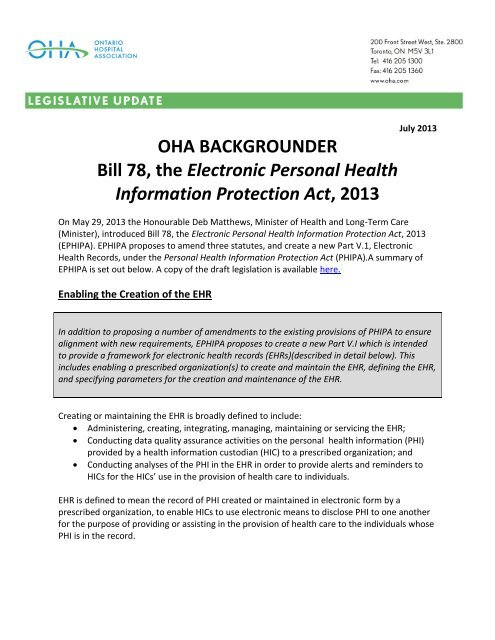 Bill 78, the Electronic Personal Health Information Protection Act, 2013