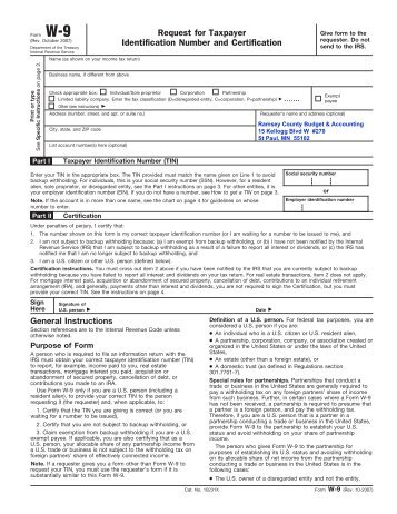 W-9 Form - Ramsey County Parks and Recreation