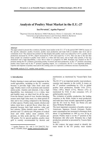 Analysis of Poultry Meat Market in the E.U.-27