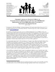 CAI Response to Ventura County - Children's Advocacy Institute