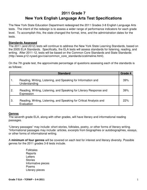 2011 Grade 7 New York English Language Arts Test Specifications