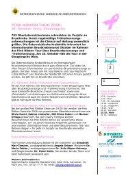 PINK RIBBON TOUR 2008: - Krebshilfe Oberösterreich