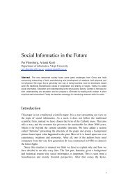 Social Informatics in the Future - Per Flensburgs hemsida