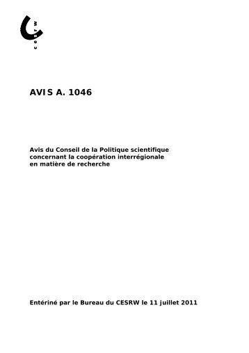 AVIS A. 1046 - Conseil économique et social de la région wallonne