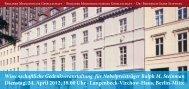 Das Programm zur Festveranstaltung - Berliner Medizinische ...