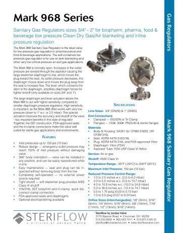 Mark 968 Data Sheet - Steriflow Valve