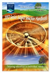 DE 2012 Senior Subject Handbook.pdf - Riverside Christian College