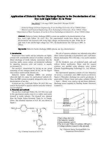 Application of Dielectric Barrier Discharge Reactor to the ...