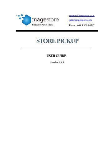 store pickup user guide - Magento Extensions