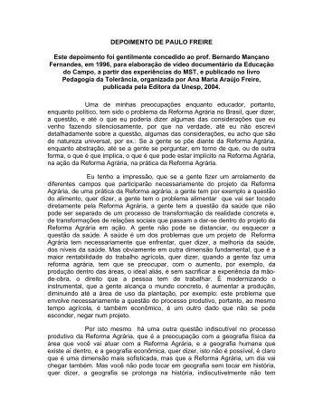DEPOIMENTO PAULO FREIRE - UNESP