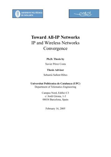 Toward All-IP Networks IP and Wireless Networks Convergence