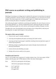 PhD course on academic writing and publishing in journals