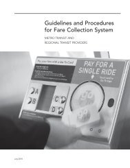 Guidelines and Procedures for Fare Collection System - Metro Transit