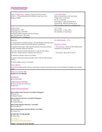 2007 SCI Non-Key Financial Info 30 Mar 09 - Singapore College of ...
