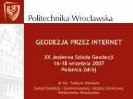 Prezentacja (1167 kB) - Instytut Geodezji i Geoinformatyki