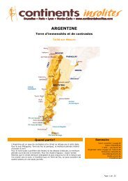ARGENTINE - Continents Insolites