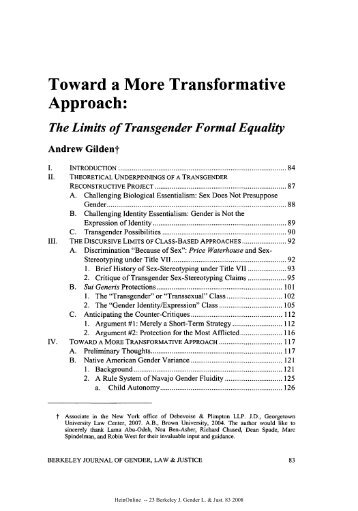 The Limits of Transgender Formal Equality - Columbia Law School