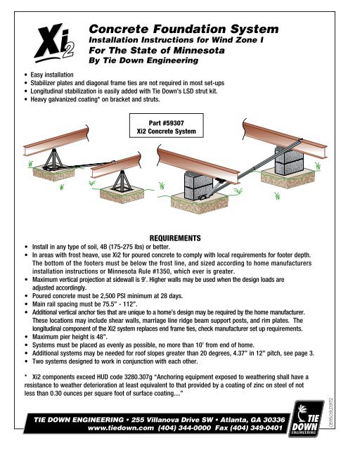 Xi2 Concrete Foundation System Installation Instructions For Wind