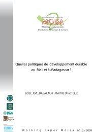 Quelles politiques de développement durable au ... - INRA Montpellier