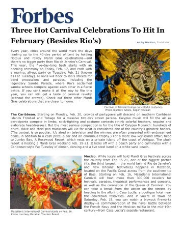 Three Hot Carnival Celebrations To Hit In February (Besides ... - El Cid